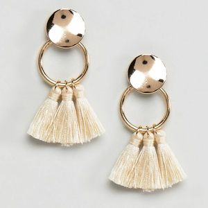 Small ring tassel earrings